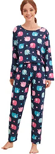 WDIRARA Women s 3 Pieces Elephant Print Top and Pants Pajama Set with Eye Mask Multicolor S product image