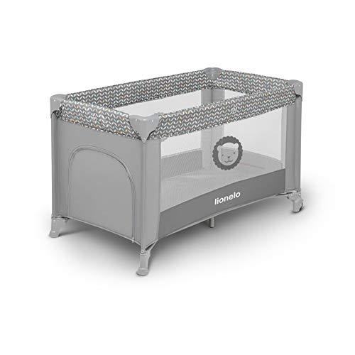 Lionelo Adriaa 2 in 1 box bambini lettino da viaggio dalla nascita fino a 15 kg entrata laterale con materasso blocco delle ruote borsa per il trasporto pieghevole (Grigio)