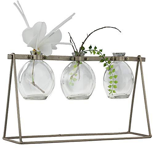 MACOSA PT687149 Design glazen vazen helder 3 st. in metalen standaard goud moderne tafelvazen tafeldecoratie bloemenvazen metalen frame voor enkele bloemen
