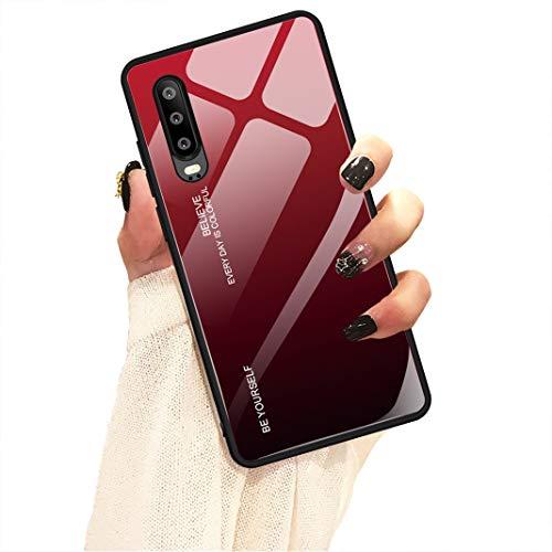 Hishiny Coque Huawei P30, Coque P30 Pro Lite Silicone Cover Housse de Protection Case Anti-Choc Étui Verre trempé backcover Coque Housse pour Huawei P30 Pro Lite (Rouge, Huawei P30 Lite)