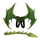 NIDONE 1set Kids Fantasy Dragon Alings, Disfraces de Disfraces de Disfraces Halloween Dinosaurio Dragón Traje Animal ala y Accesorio de la Cola para el Traje de Fiesta de Halloween (Verde)