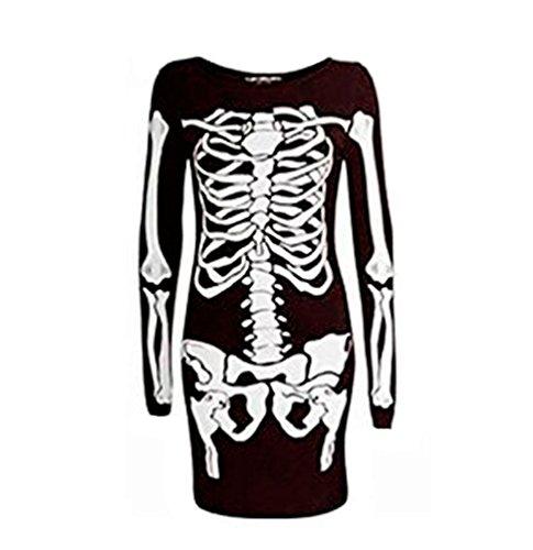 Oops Outlet - Vestito aderente da donna in jersey per Halloween. Motivo scheletro, taglia M/L - nero.