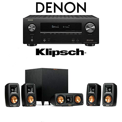 Klipsch Reference Theater Pack 5.1 Surround Sound System with Denon AVR-X3500H 7.2-Channel 4K Ultra HD Networking AV Receiver