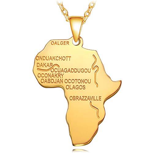 Collar De Mapa,Collar De Mapa, Collar con Colgante De Mapa Dorado De Rostro Humano De África Abstracta, Encanto Étnico Único, Cadena De 60 Cm, Joyería para Mujer, Hombre, Viaje, Regalo Conmemora