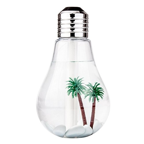 Elinka Bulb Humidifier Desktop USB Powered Color Changing Cool Ultrasonic Mist Bulb Humidifiers-470mL Capacity-7 Color LED Nightlight For Your Home, Office, Bedroom, Baby Room