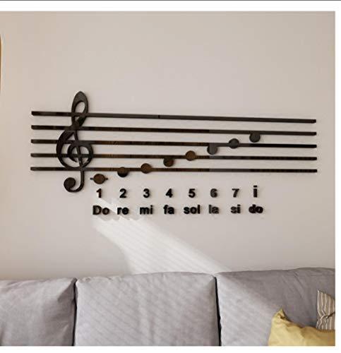 JHLP Piano Notities Acryl 3D Muurstickers Muziek Klas DIY Art Muurdecoratie Training Cursus Achtergrond Spiegel Muursticker 54X130cm