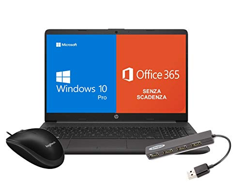 Notebook Pc Portatile HP 255 G8 Display 15.6   Amd 3020e fino a 2,6ghz  Ram 8Gb ddr4  SSD M2 256GB     Hdmi   Wifi Bluetooth  Licenza Windows 10 pro + Office 365  Mouse Logitech + HUB USB