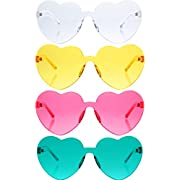 Gejoy 4 Pieces Heart Shaped Rimless Sunglasses Transparent Frameless Glasses Tinted Eyewear for Women and Girls Party Cosplay (Lake Blue, Pink, Yellow, Clear)
