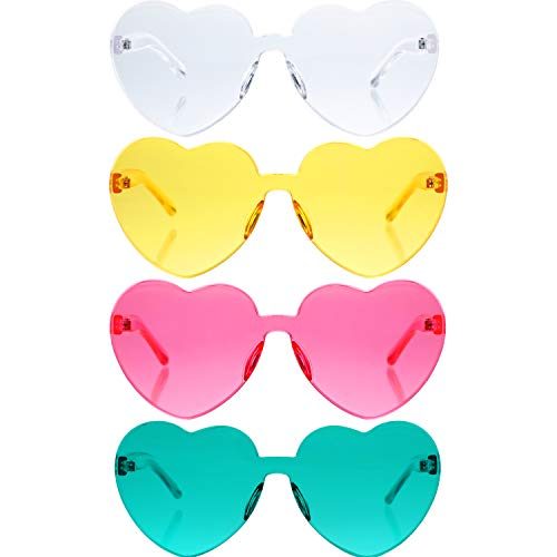 Gejoy 4 Pieces Heart Shaped Rimless Sunglasses Transparent Frameless Glasses Tinted Eyewear for...