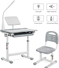 Mecor Kids Desks, Height Adjustable Children Desk and Chair Set, Childs School Student Sturdy Table w/Lamp Pull Out Drawer Storage,Pencil Case,Bookstand Grey