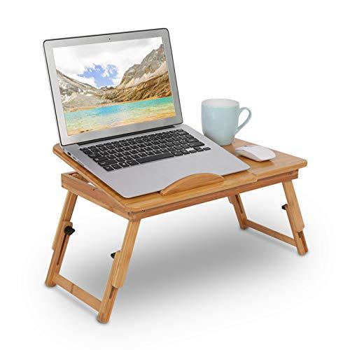 GOTOTOP Tavolino da Letto in bambù per PC Portatile, Tavolino da Letto in bambù Supporto Regolabile per Tablet