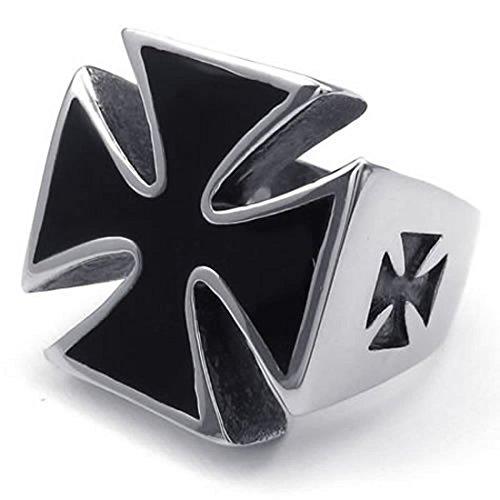 SODIAL(R) Anillo de cruz de hombres anillo de joyeria para hombre motorista, de acero inoxidable, cruz, negro + plata 10