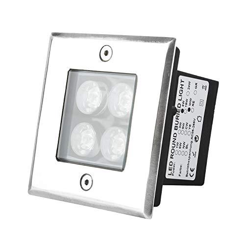 Wilktop Faretto Incasso Led, Faretto Da Incasso A Led 4W, Lampada Da Esterno Quadrata IP67 LED Faretto Da Incasso A Pavimento Lampade Da Giardino Lampada Per Esterno (Bianco Caldo).