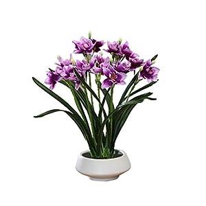 Silk Flower Arrangements LZL Artificial Flowers in Vase Silk Narcissus Flower Arrangements Fake Faux Flowers Bouquets with Ceramics Vase Table Centerpieces for Dinning Room Table Kitchen Decoration (Color : Purple)