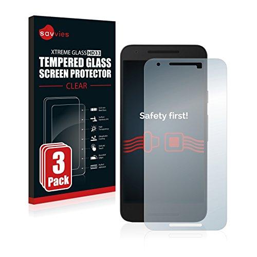 savvies Protector Cristal Templado Compatible con LG Nexus 5X (3 Unidades) Protector...