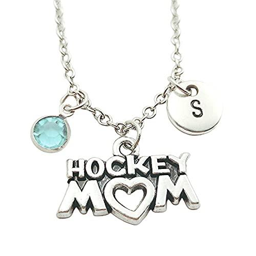 Mamá De Hockey, Iniciales Creativas, Monograma, Collar De Piedra Natal, Joyería De Moda, Accesorios De Regalo De Navidad Para Mujer, Joyería Colgante