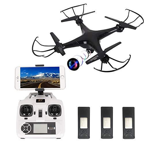 HT HONOR . TRUST Drohne mit Kamera, Live-Video, 720p, Höhenhaltung, App-Steuerung mit 3 Batterien