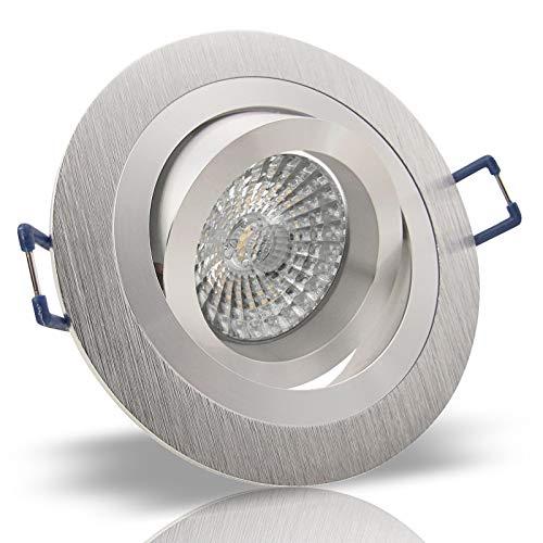 10x Decken Einbauleuchte NOBLE Silber 230V Hochvolt GU10 rund schwenkbar OHNE Leuchtmittel Aluminium Einbaustrahler Einbauspot NOBLE 2