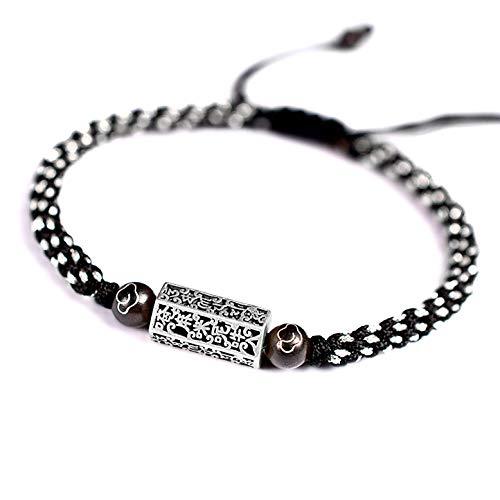 STYLE4-NATURE  Pulsera premium para hombres en negro y plata tibetana, amuleto budista de la suerte de plata, regalo para hombres