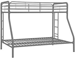 Dorel Home Products Twin Over Full Bunk Bed - Silver - Kids Furniture - Bunk Beds - Simple, Sleek, Secure, Stable and Space Saving for Your Room - The Bed Metal Frames Will Last Through Years
