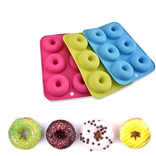 Eizurs 3 Pièce Moule à Donut avec 6 Cavity, Silicone Moule du Four pour Gâteaux Biscuits Bagels Muffins, Bleu, Rose, Vert