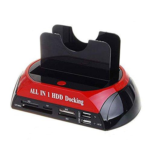 SODIAL TCC-S862 en USB 2.0 Tiene SATA IDE Doble HDD Disco Duro Dock con Lector de Tarjetas y USB Hub 2.0 a 2.5 3.5 Pulgadas IDE SATA I/II/III Disco Duro SSD Enchufe UE