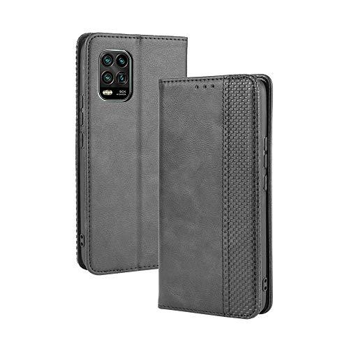 LAGUI Kompatible für Xiaomi Mi 10 Lite 5G Hülle, Leder Flip Hülle Schutzhülle für Handy mit Kartenfach Stand & Magnet Funktion als Brieftasche, schwarz