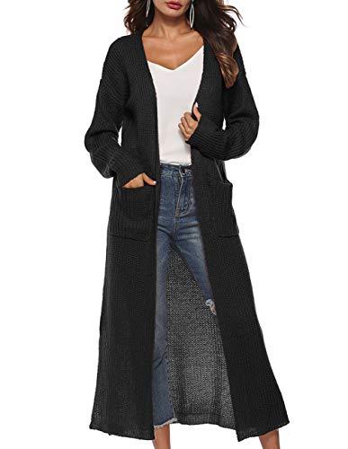 Womens Casual Long Sleeve Split Hem Open Front Cardigan Long Maxi Cardigan Sweaters longine dusters Black