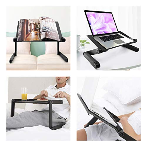 V'rtuem Adjustable Laptop Tray, Height Adjustable Desk | Folding Table, Ventilated Laptop Stand | Foldable Desk, Portable Table Universal Compatible with Laptop/Notebook Computer/Tablet - Black Desks