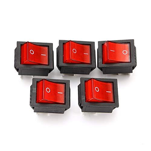 JSJJAYH Interruptor basculante 5pcs 2 Posición Interruptor de rockero de luz roja 16A / 250V KCD4-20 4 Pin ON/Apagado Cambiadores de Palanca 35 x 25.5 x 10 mm Accesorios