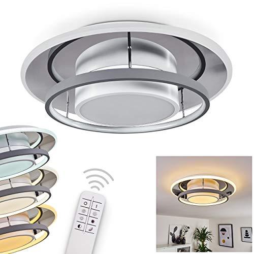 LED Deckenleuchte Fiasca, dimmbare Zimmerlampe aus Metall weiß-grau, runde Deckenlampe aus klarem Glas mit Fernbedienung, 1 x LED 50 Watt, 3000-6000 Kelvin, 400-4200 Lumen, Lichtfarbe veränderbar