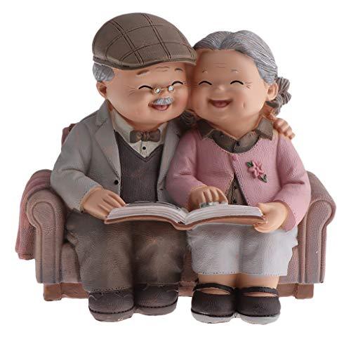 Homyl Süße älteres Paar Figuren Tischdeko, Geschenkidee für Opa/Oma, Weihnachtengeschenk - Das Foto betrachten