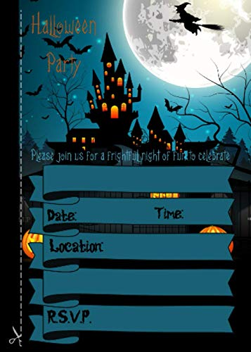 Halloween Party: 20 Halloween Party Invitations to Cut Out | for Adult, Themed, Costume, or Kids Party | 20pcs 5'x 7' | Blank Fill in Invite Card | Halloween Party Invitation