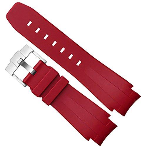 [Richie strap]Cinturino in silicone con cinturino in gomma da 21 mm adatto per Rolex Yacht Master Oysterflex (rosso)