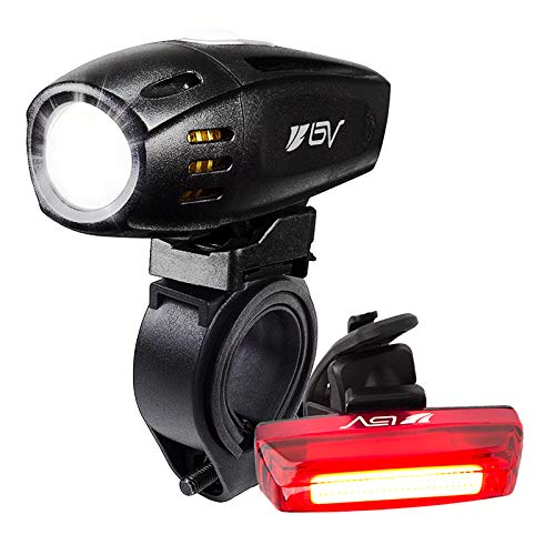 BV Super Bright (300 Lumens) USB Rechargeable Bike Headlight with Free Taillight  1300mAh Lithium Battery   Water Resistant IP44 - Fits All Bicycles, Easy Install & Quick Release- 1 Year Warranty