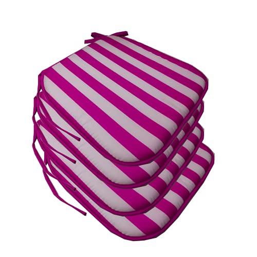EUROXANTY Cojín Premium Silla Rayas | Cojín Decoración | Cojín Exterior | Cojín para Interior | Cojín para Sillas | 38 x 38 x 3 cm | Fucsia/Blanco | Pack de 4