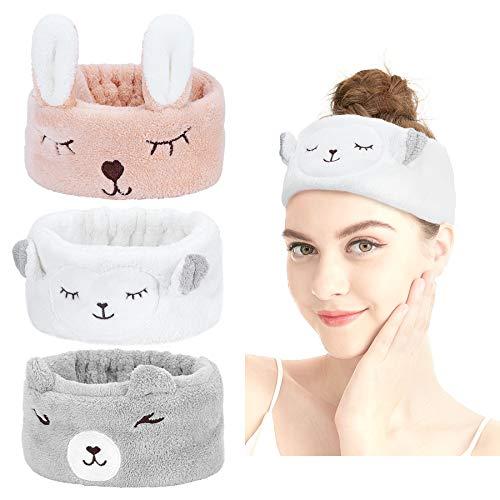 Haarband Kosmetik - Spa-Stirnband Make-Up Stirnbänder Niedlichen Panda Ohr Weiche haarreif zum Waschen Spa Yoga Beauty Gesichtspflege Make-up für Damen (Khaki + Grau + Beige)