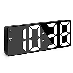"""Digital Alarm Clock for Bedroom, Smart Alarm Clock, 6.7"""" LED Display Screen with Adjustable Brightness, Snooze, Dimmable, Temperature, Date, 12/24Hr, Small Electronic Desk Clock for Office Home Travel"""