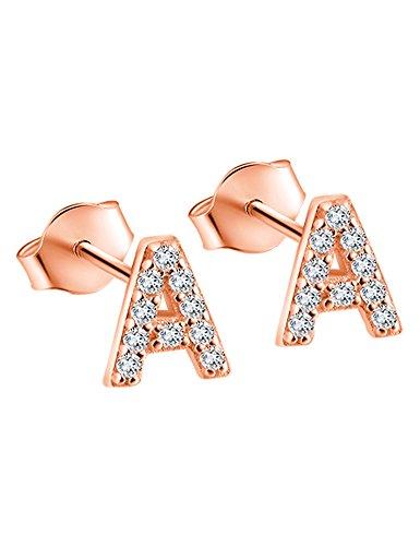 Paialco Pendientes Iniciales Oro de Rose Plateado con CZ Diamantes - Carta A