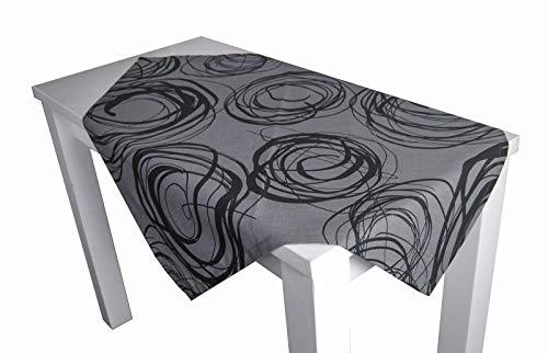"""beties """"Mystik"""" Mitteldecke ca. 80x80 cm Tischdecke in interessanter Größenauswahl hochwertig & angenehm 100% Baumwolle Farbe Platin-Schwarz"""