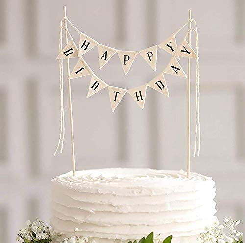 Happy Birthday Cake Topper Banner - Handgemaakte Ivoor Pennant Vlag Banner Cake Topper met Houten Polls - Perfect voor Taarten, Donut Cakes (Happy Birthday)
