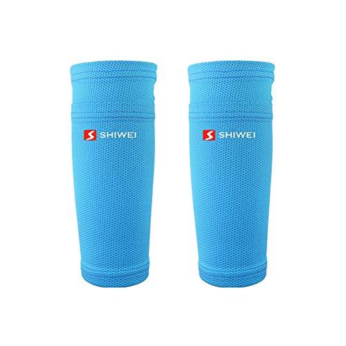 alpscale 1 Paar Legwarmers Kinderen Anti-Sweat Ademende Legging Sport Voetbal Voetbal Onderbeen Warmers Bescherming Mouw Cover L Blauw