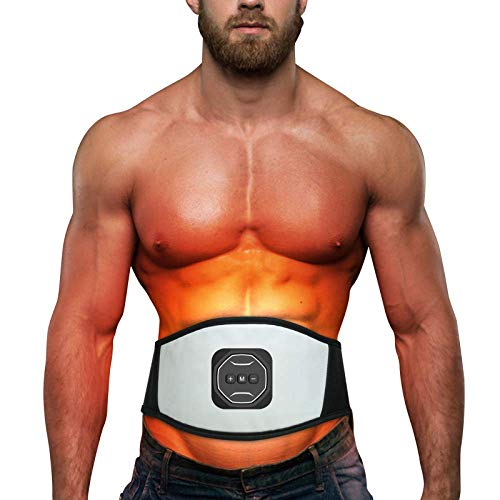 JINQI Entrenadores De Vibración Estimulador De Abdomen De Cuero USB Cinturón De Tonificación Muscular con 6 Programas Masajeador Corporal para Estómago Muscular Abdominal Sin Almohadillas De Repuesto