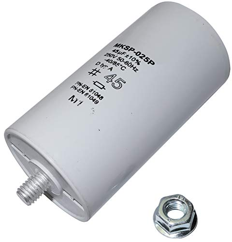 AERZETIX - Condensador para Lámpara de Descarga/Tubos/Globos Fluorescentes - Polipropileno - Doble Clips/Tomas/Terminales - Rosca M8-45uF ±10% - Ø45x83mm - Cuerpo de Plástico Cilíndrico - C471