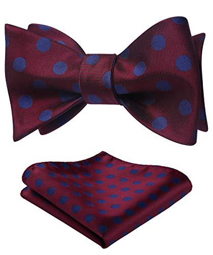 SetSense Men's Polka Dot Jacquard Woven Self Bow Tie Set One Size Burgundy/Blue
