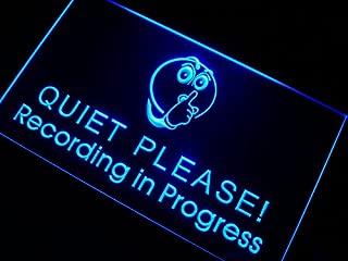 ADVPRO m096-b Recording in Progress Quiet Please Neon Sign