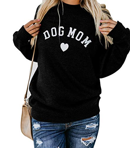 Heymiss Womens Pullover Tops Dog Mom Shirt Long Sleeve O Neck Letter Print Crewneck Sweatshirts Graphic Tee Black S