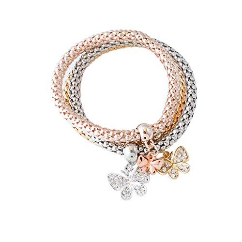 QHGstore 3pcs Cristalli donne set fascini farfalla Pendenti Set Bracciali Trendy Stretch NO.1