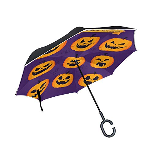 Jojogood Different Expressions of Pumpkin Lights Inverted Umbrella Reverse Auto Open Double Layer Windproof UV Protection Upside Down Umbrella for Car Rain Outdoor Use