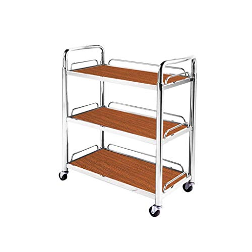 YASEking Carrito de herramientas – 3 capas de soporte móvil para hotel, servicio de hotel, té, vino, carrito de postre para coche, práctico (tamaño: 70 x 35,5 x 81 cm)